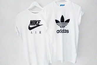 adidas, black & white, fitness, girl, grunge, nike, t shirt