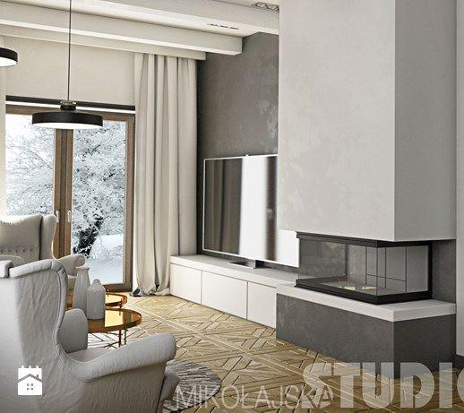 zimowy salon z kominkiem-projekt - zdjęcie od MIKOŁAJSKAstudio