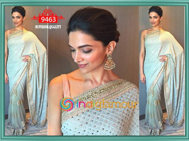 Sky blue embroidered georgette saree wtih blouse