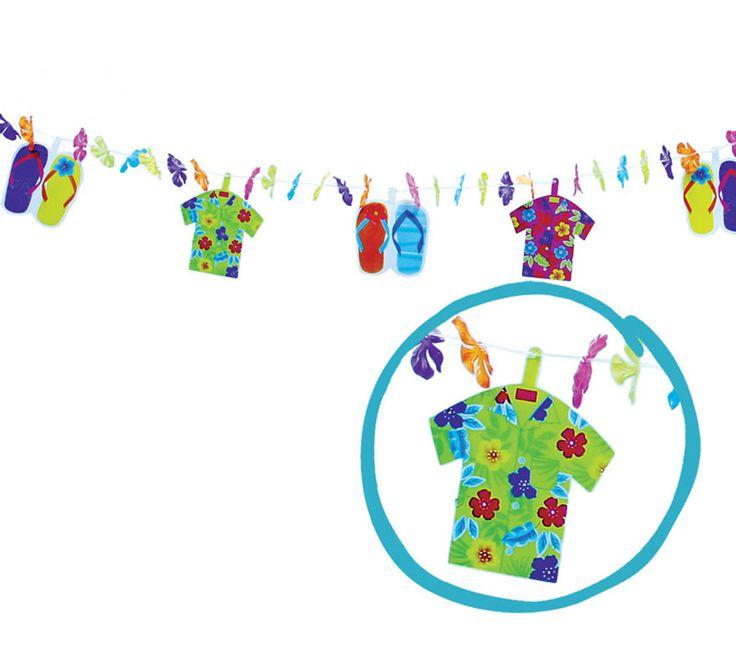 Guirnalda fantasía Chanclas y Camisas Hawai papel. Esta guirnalda decorativa es de lo más original y divertido para una fiesta hawaiana.