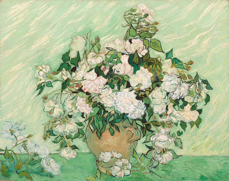 Roses by Vincent van Gogh. Dutch, 1890. Oil on canvas. Vincent van Gogh painted Roses as part of his healing process while at the asylum at Saint–Rémy. Roses is recognized as one of Van Gogh's most beautiful still lifes.