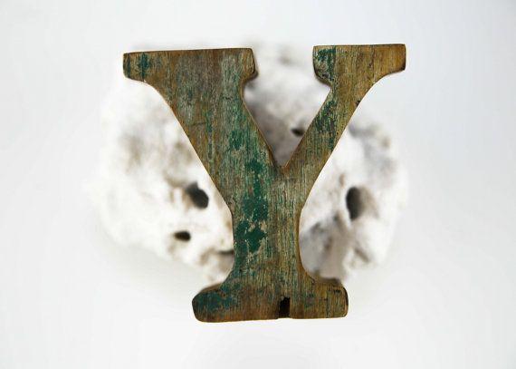 """Strand Decor van houten LETTER """"Y"""" Vintage stijl nautische door SEASTYLE"""