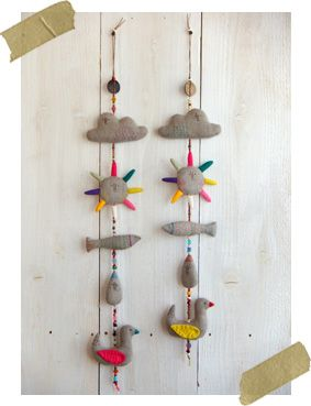 wall hanging inspiration via fabrickaz + idees (not a direct link)