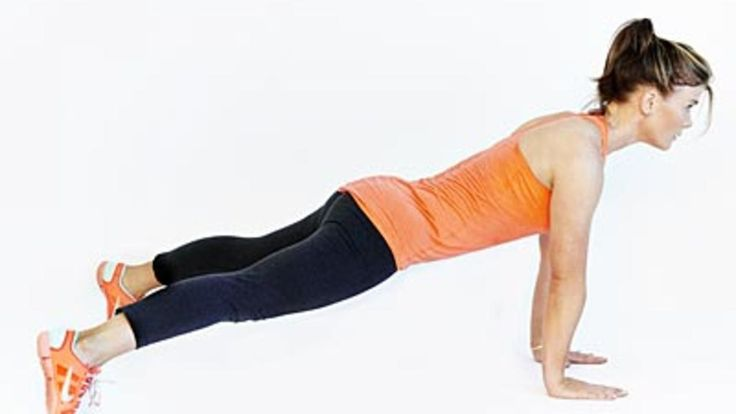 Adding a jump to the standard plank engages your core even more. Make sure to keep your pelvis steady and your back straight, as shown by Alison Sweeney in this video. Repeat for 1 minute, eventually building up to 5 minutes as you get stronger.Alison Sweeney's next workout moveSee the full workout