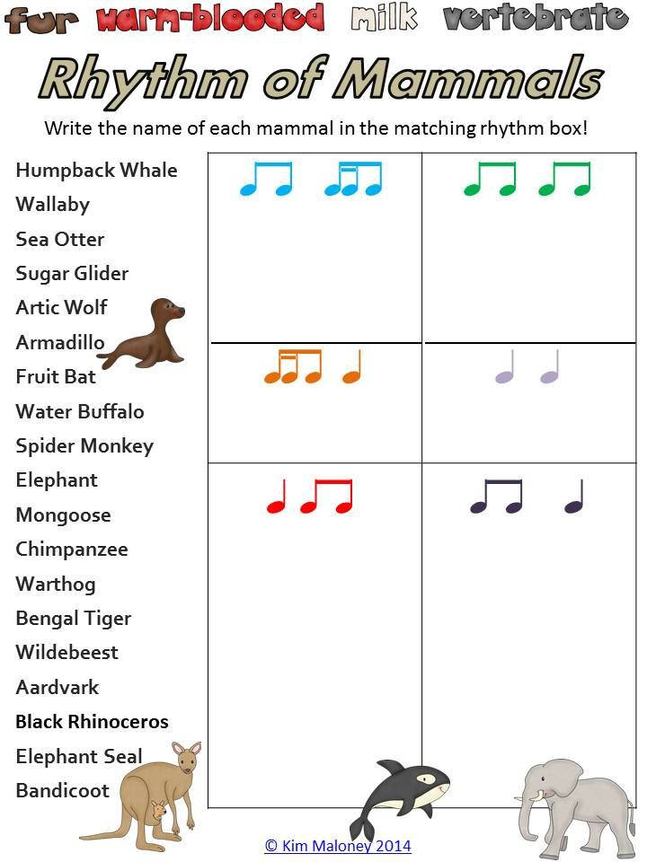 The Rhythm of Mammals!   Avail in the Rhythm worksheets BUNDLE.     $