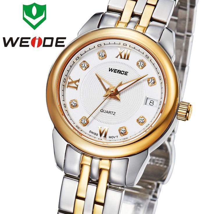 Топ продажа вайде золотые часы женщины бренд сапфировое окно кварцевые часы топ люксовый бренд водонепроницаемый платье горный хрусталь часы WG93009G