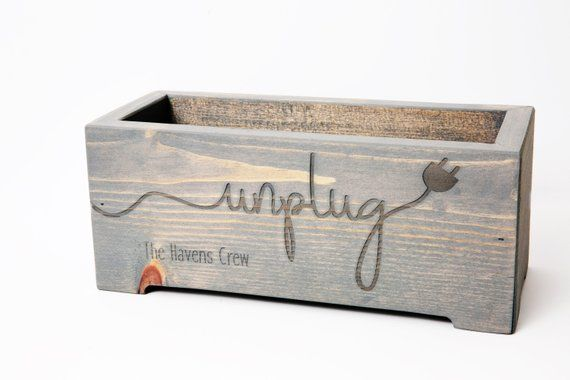 Unplug Box Rustic Wood Planter – Personalized Family Cell Phone Holder