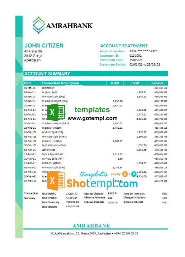 Editable Printable Printable Green Dot Bank Statement