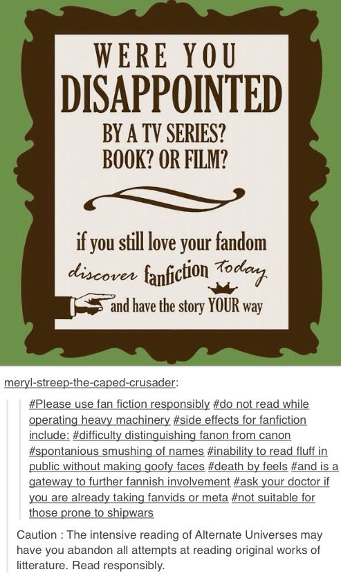 Yes! this is the thing, the thing thing of all things, why fanfiction?! because reasons!