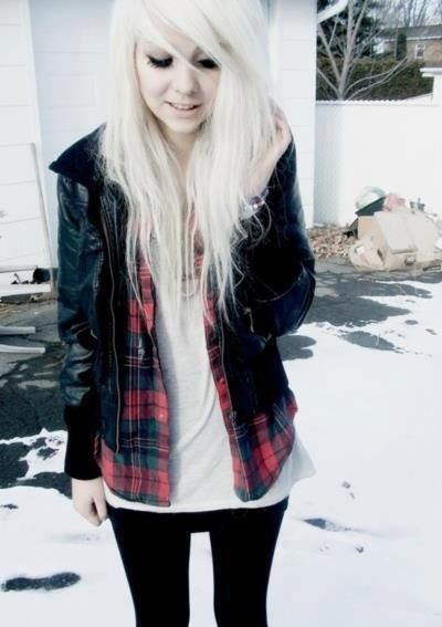 pretty emo girl hair :): White Hair, Style, Outfit, Leather Jackets, Emo Scene, Scene Hair, Christmas Gift, Scene Girls