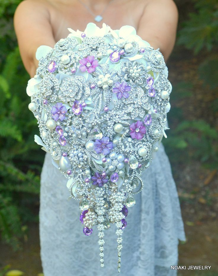 Deposit on lavender cascading jeweled brooch bouquet -- made to order wedding brooch bouquet. $275.00, via Etsy.