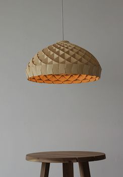 Exterior of timber veneer pendant light