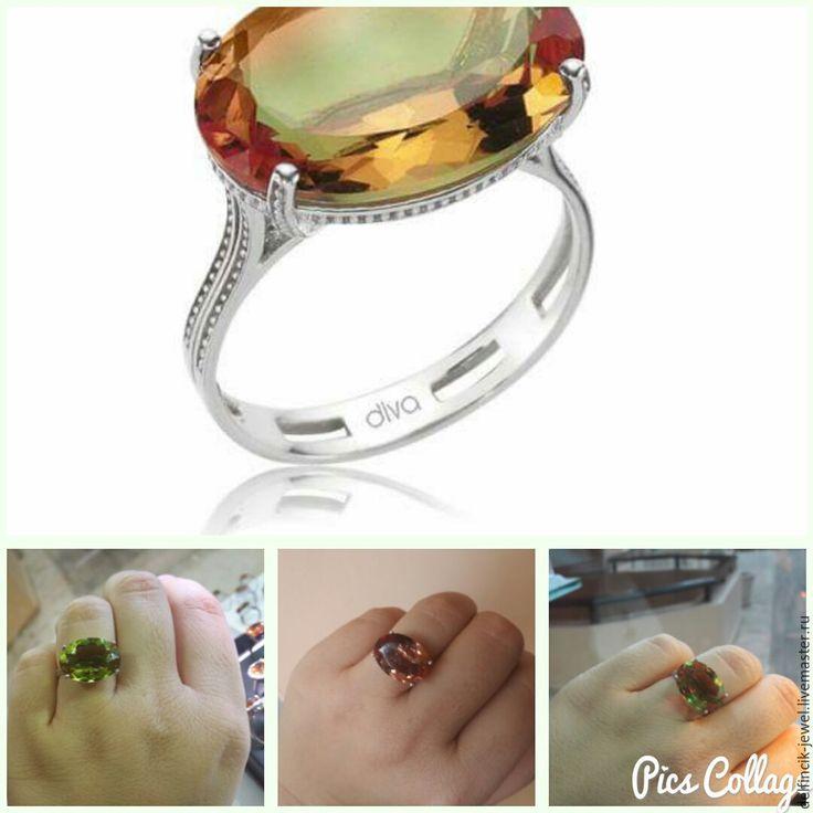 Купить Серебряное кольцо с крупным овальным поперечным султанитом - разноцветный, султанит, перстень с султанитом