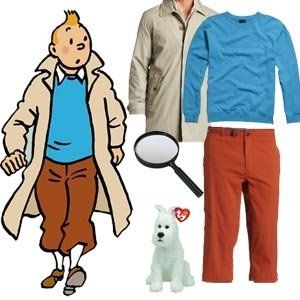 Tin Tin Costume- my hair does that sticky-up thing & I have a Westie pup - sorted