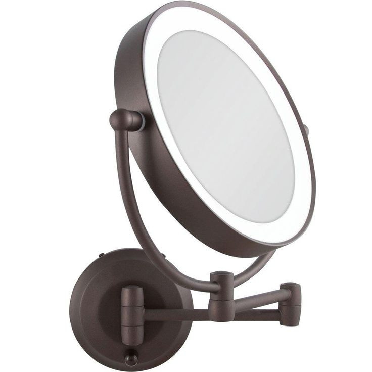 Wall Mount Magnifying Mirror With Light Bronze