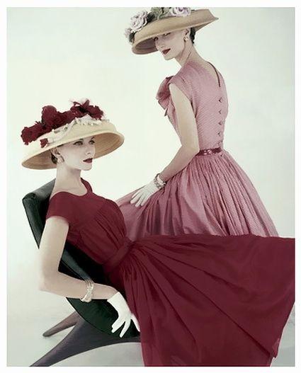 Vogue - April 1956 by Karen Radkai - Vintage Easter Fashion @rubylanecom www.rubylane.com