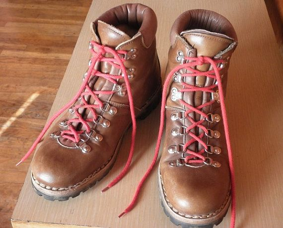 Vintage Men Leather Italian Hiking Boots Size 105 by captainblack, $175.00