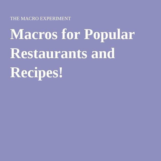 Macros for Popular Restaurants and Recipes!