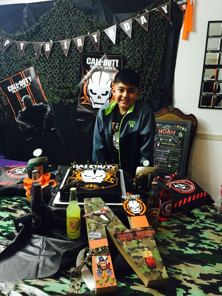 My Noah's Call of Duty Black Ops 3 party decor/cake