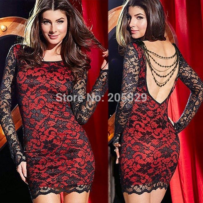 Платье кружево Mini, женское сексуальный открытая задняя часть с низким вырезом на спине съёмный цветочный цепь хип - завернутый Клубная одежда простирание