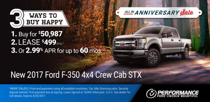 New 2017 Ford F350: All-In Anniversary Sale - '17 F-350 : 3 Ways To Buy Happy 1) Buy For $50,987 2) Lease for $499/month & $0 Down 3) Get 2.99% APR for up to 60 months! https://www.performanceut.com/offers/new-2017-ford-f350-0417?utm_source=rss&utm_medium=Sendible&utm_campaign=RSS