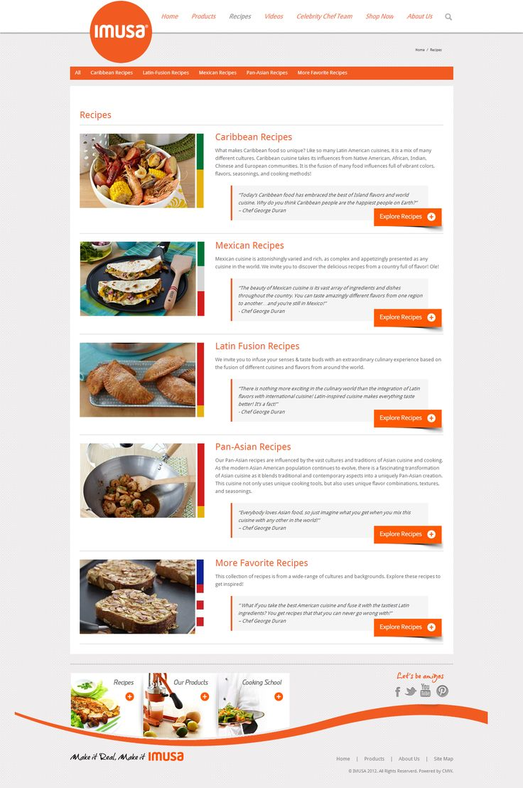 ImusaUSA.com Recipes list