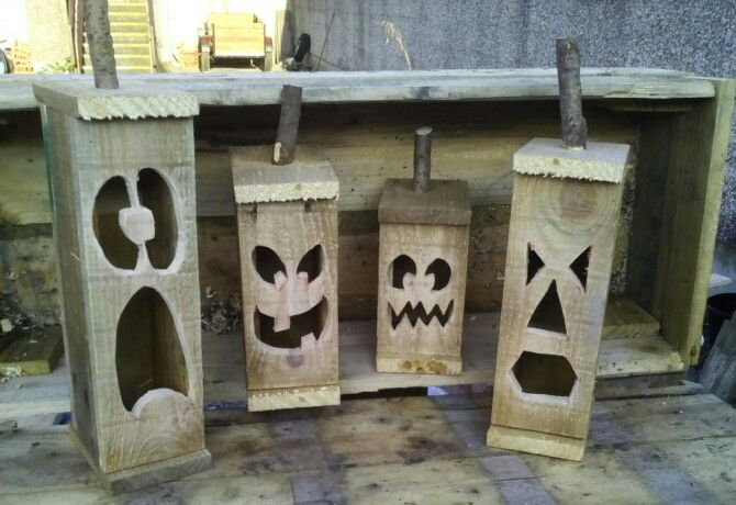 Handmade from old recycled pallet wood .. Halloween jacko lantern's