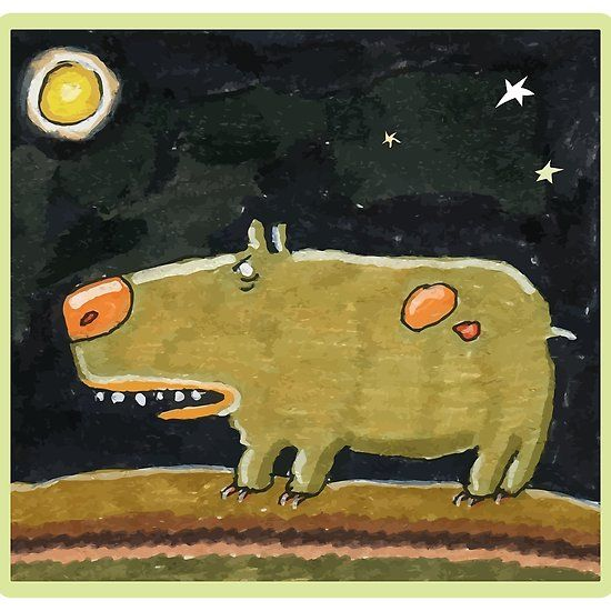 Funny Dog and Moon