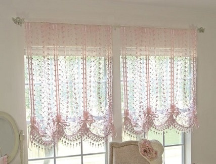 lace pull up curtainlace chichome decor curtain with