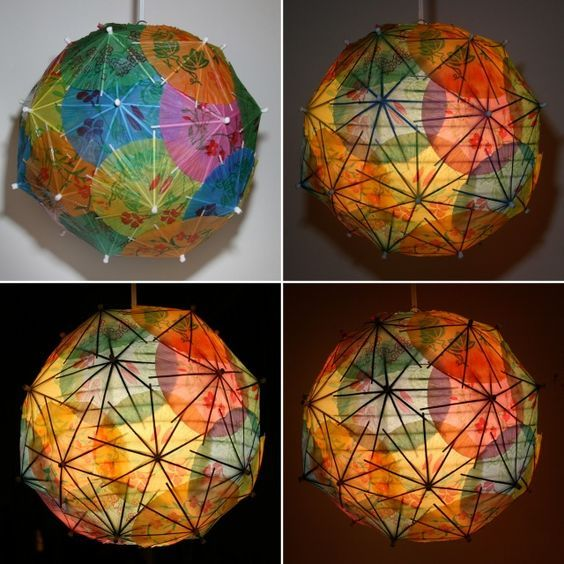 Make a pendant light from paper umbrellas.... shows off the frame underneath.