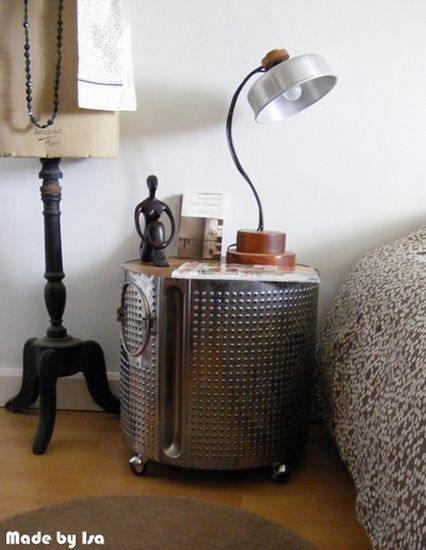 Washing Machine Drum Turned Bedside TableIdeas, Recycle, De Machine, Machine Drums, Wash Machine, Bedside Tables, Night Stands, Furniture, Diy