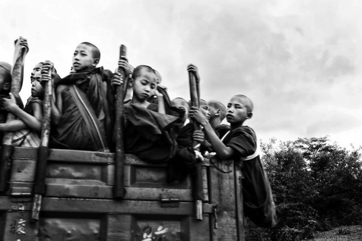 Novice monks travel from the Burma-China border town Muse in northern Shan State.