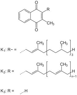 Witamina K – Wikipedia, wolna encyklopedia ///Funkcje witamin K w organizmie:      regulują wytwarzanie protrombiny     wpływają na krzepnięcie krwi     odgrywają rolę w gospodarce wapniowej