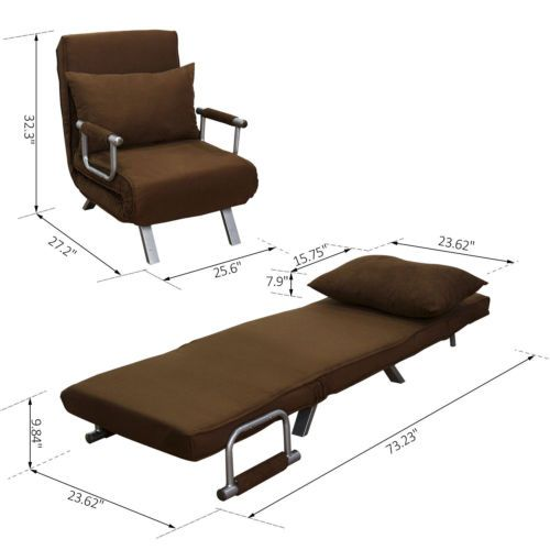 HOMCOM Single Sofa Bed Chair Convertible Living Room Furniture Recliner  Lounger