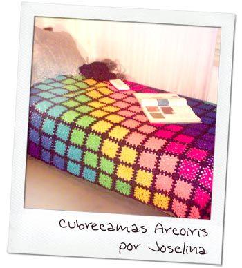 cubre cama arcoiris crochet