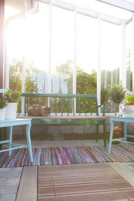 Vi har byggt växthuset mot garagets södra vägg. I helgen jobbade vi vidare med vårt bygge av växthuset. Bortsett från några glasrutor, en dubbeldörr, ventilationsluckor och lite andra smådetaljer så är det nu i alla fall någorlunda klart. Det blev lite halvdant med odlingen detta år, men nästa år då kan jag satsa rejält på att odla när jag vet att jag har ett växthus. Ett som är säkert är i alla fall att det kommer att bli välbesökt av katterna. Sedan jag ställde in soffan, som jag hittade…