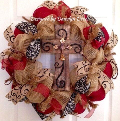Christmas Wreath Fall Wreath Deco Mesh Wreath by DawslynDecor