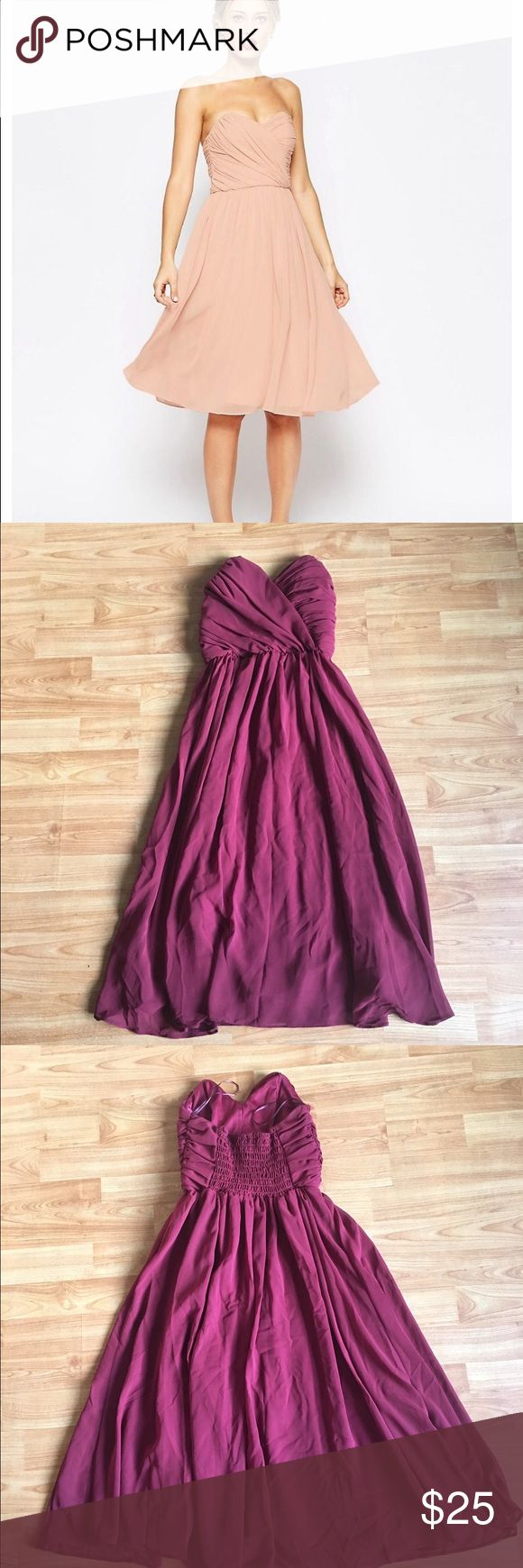 ASOS Formal Dress NWT. Deep wine color, size 2.  Excellent condition.  Bought on here but size was too small.  Same dress that is on the modal just a different color.  If you have any questions, feel free to ask! ASOS Dresses Midi
