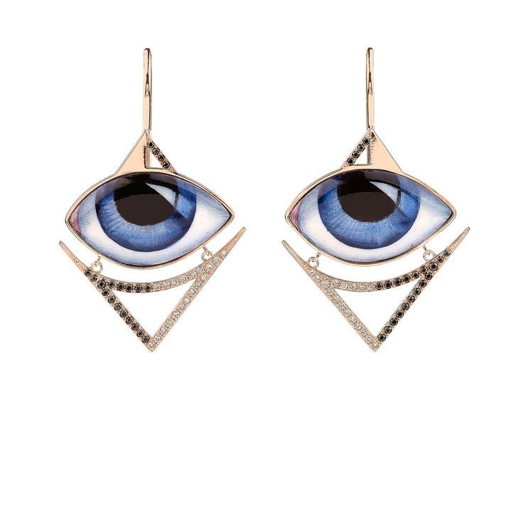 Hand painted and enamelled eyes by Russian iconographer, Mikael Pink gold