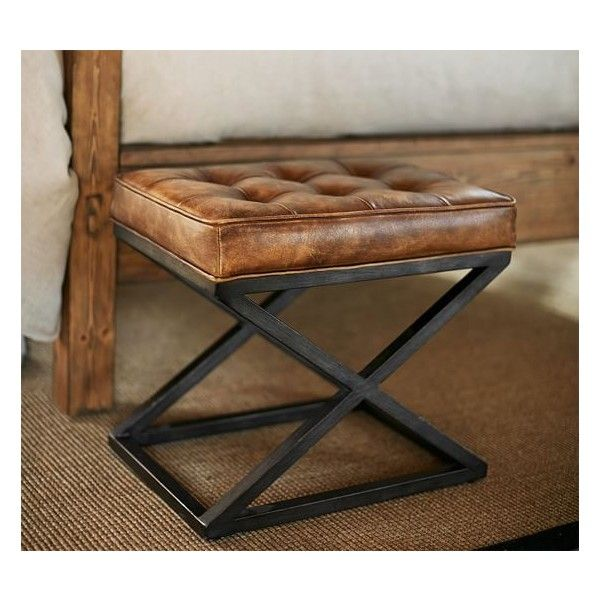 Strange Pottery Barn Kirkham Tufted Leather X Base Stool 299 Via Beatyapartments Chair Design Images Beatyapartmentscom