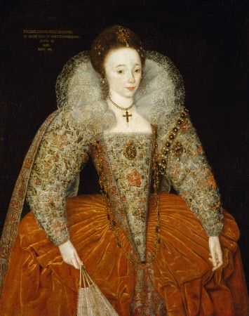 Portrait of LADY ELEANOR PERCY, LADY POWIS by the Anglo-Flemish School, dated 1595, in the State Dining Room at Powis Castle, Powys, Wales