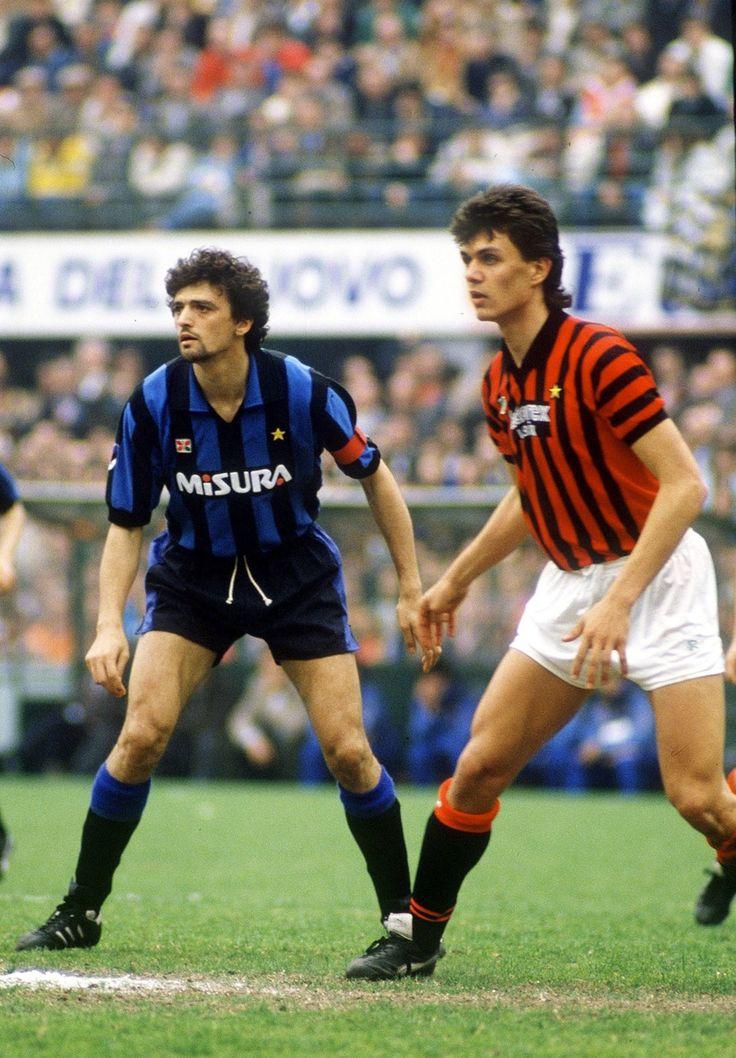 Alessandro Altobelli (Inter Milan) Paolo Maldini (AC Milan)