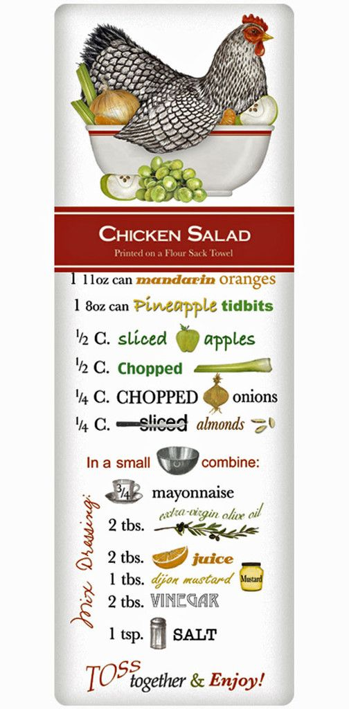 Classic Chicken Salad 100% Cotton Flour Sack Dish Towel Tea Towel
