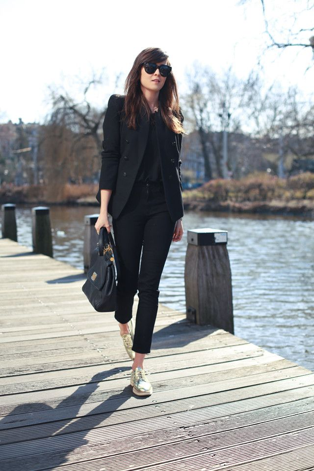 All black outfit with gold oxfords