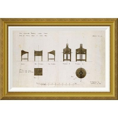 """Global Gallery 'Designs For Writing Desks' by Charles Rennie Mackintosh Framed Painting Print Size: 28.14"""" H x 42"""" W x 1.5"""" D"""