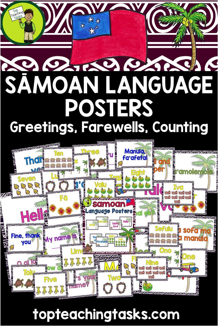 Samoan Language Week. Samoan Greetings, Introductions, Farewells and Counting Classroom Display Posters.  These posters come in both English and Samoan.  The following greetings, introductions, farewells and numbers are included:  - Hello - Welcome - Goodbye - Please - Thank you - Be well and prosper - What's your name? - My name is _____ - How are you? - Fine, thank you. - Numbers: One, Two, Three, Four, Five, Six, Seven, Eight, Nine and Ten  ***A pronunciation guide is also included.***
