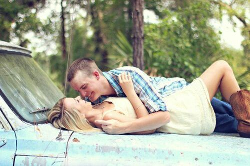 Country Couple Photography Ideas...but using his el camino or his harley