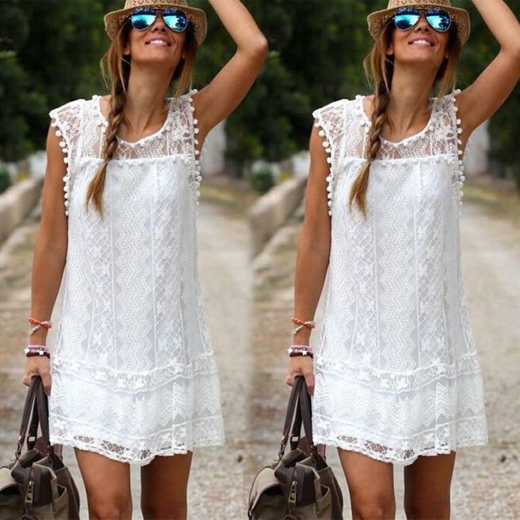 Hot Sale Sexy Women's Summer Casual Solid Sleeveless Beach Dress Mini Lace Dress #Affiliate