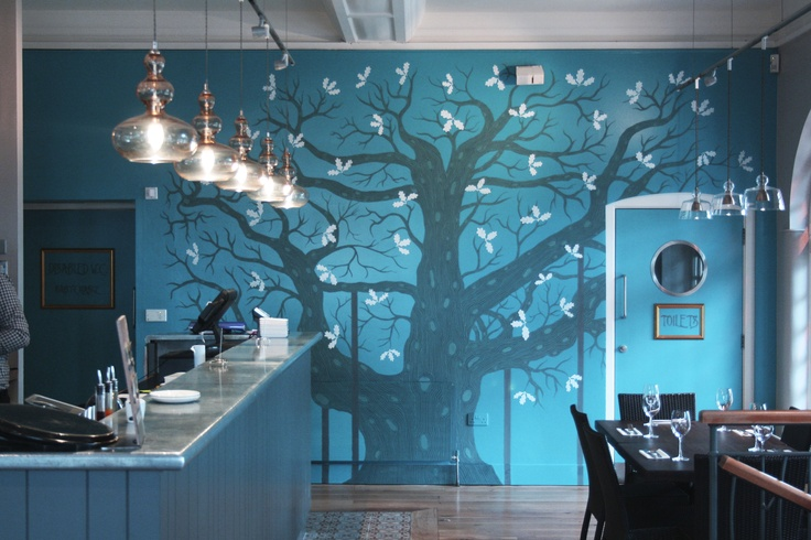 Mural inspired by Sherwood Forest's Major Oak at Zizzi restaurant Newark. www.jamesgrover.com/Wall-Mural-Major-Oak