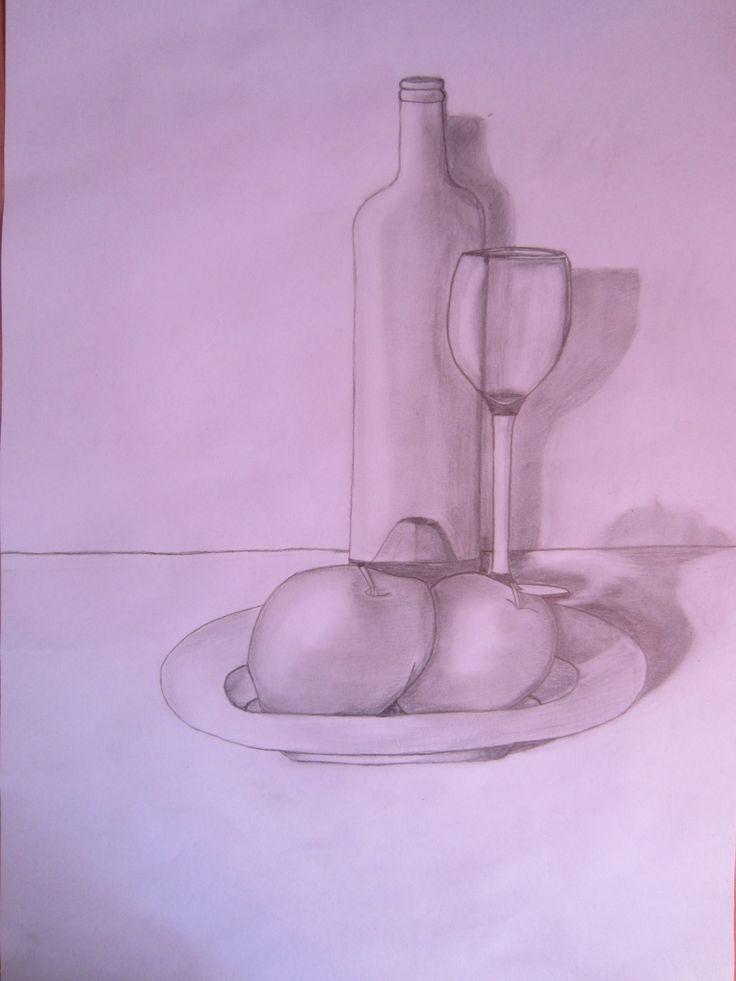 Tarea 1: El objetivo de esta tarea era componer y dibujar un bodegón dándole sus sombras y transparencias.  Con esta tarea he aprendido a hacer sombras, transparencias y darle luz al dibujo.
